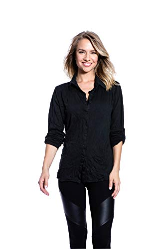 - Pleats Collection Women's Long Sleeve Crinkle V Neck Roll up Sleeve Blouses Pocketable Tops,Black,XL