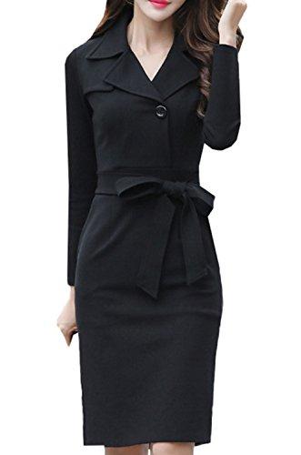Knielanges de de de cóctel de de vestido noche fiesta Vintage Scothen manga de manga larga negocios vestido Black cinturón vestido vestido de larga de con bodycon Zq1nw8