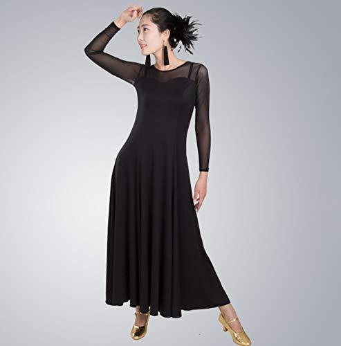 Ballo Black Abbigliamento Abiti abiti Rete Sala Tondo Standard Allenamento Da Scollo Lunghe Moderni Con Cucitura Maniche A Nazionale q8wfRB8