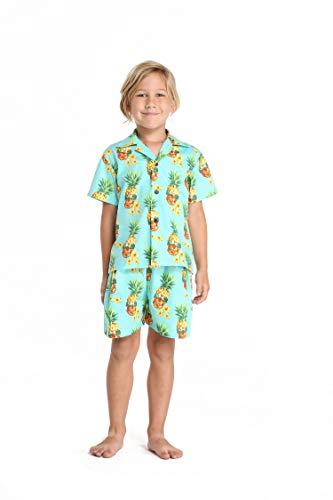 (Hawaii Hangover Boy Aloha Luau Shirt Cabana Set in Halloween Pineapple Skull with Sunglasses 2 Year)