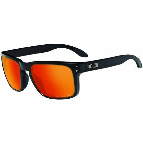 Oakley mens Holbrook OO9102-51 Iridium Polarized Sport Sunglasses,Matte Black/Ruby,55 mm