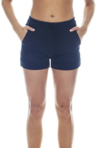 [90 Degree By Reflex Activewear Lounge Shorts - Heather Navy Medium] (Reflective Running Shorts)