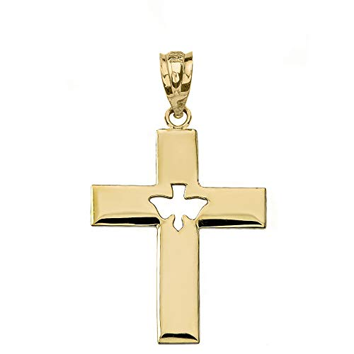 10k Yellow Gold Holy Spirit Cross with Descending Cut out Dove Center Pendant