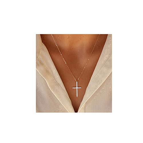 XOYOYZU Tiny Cross Pendant Necklace for Women Simple Cross Necklaces Mothers Day Birthday Gifts for Women Girl (Vertical Cross)