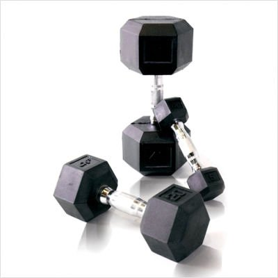 Rubber Coated Hex Dumbbell with Contoured Chrome Handle Weight: 3 lbs by Cap Barbell