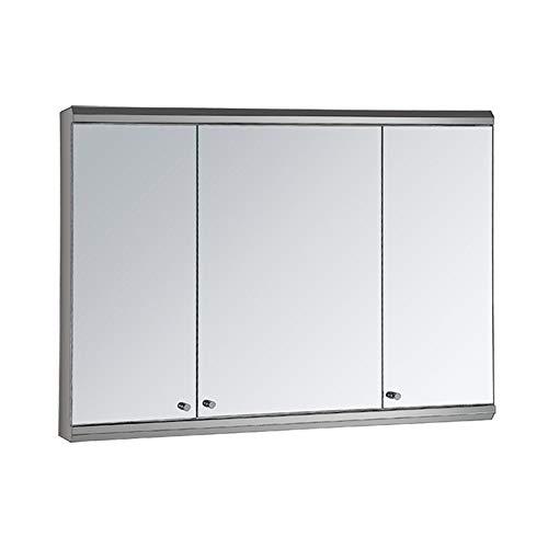 RKRZLB Bathroom Sliding Mirror Cabinet, Illuminated Bathroom Mirror Cabinet Shaver Demister Sensor -