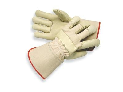 Radnor(R) Medium Premium Grain Cowhide Leather Palm Gloves With Gauntlet Cuff, Natural White Canvas Back And Reinforced Knuckle Strap, Pull Tab, Index Finger And - Cuff Pull
