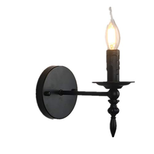 (Qyyru American Antique Iron Art Single Head Wall Lamp Industry Bar Cafe Corridor Balcony Small Wall Sconce Candle Holder Replacement Glass Switch Hardwired for Candles Black Wall Light)