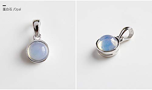 s925 sterling silver necklace pendant chain labradorite gemstone crystal tiger eye agate jewelry literary Valentine gift (opal