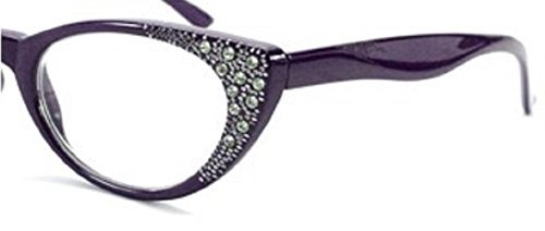 Rhinestone Cat Eye Womens Reading Glasses +1.75 Purple (Carrying Case Included) by Incredible Bargains (Hope Rhinestone)