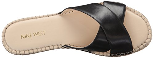 Nine West Women's Demetria Leather Dress Sandal, Navy, 5 M US Black