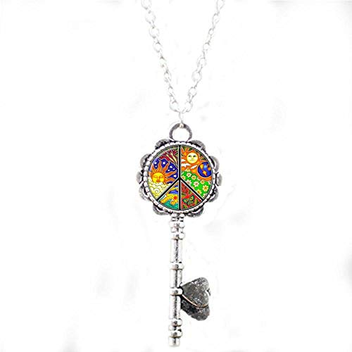 Hippie Sign Peace Pendant Hippie Jewelry Glass cabochon Art Gift Key Necklace Literary Jewelry