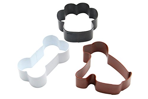 ShengHai Dog Cookie Cutter Set - 3 Piece - Dog, Paw Print and Dog Bone Stainless Steel Cookie cutters ()
