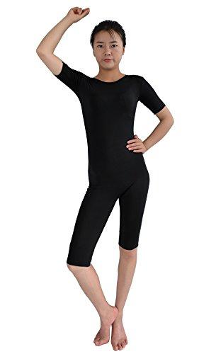 [Ensnovo Women's Spandex Short Sleeves Biketard Unitard Costume Zip Back Black,L] (Biketard Costume)