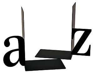 Sujetalibros (metal), diseño e A y Z, color negro