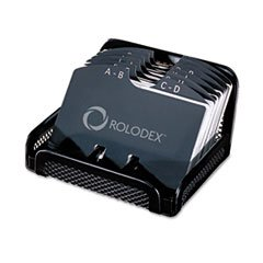 Rolodex Metal/Mesh Open Tray Address / Business Contact Card File, Black 22291ELD -