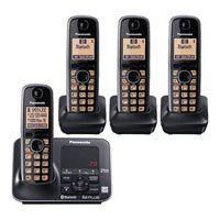 (Panasonic KX-TG7624SK Dect 6.0 Link-to-Cell Bluetooth Cordless Phone with 4-Handset)