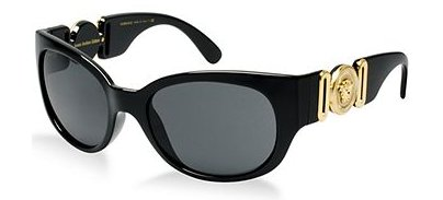 Versace Womens Sunglasses (VE4265) Black/Grey Plastic,Acetate - Non-Polarized - 57mm