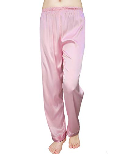 (Wantschun Womens Satin Silk Sleepwear Long Pajamas Pants Nightwear Loungewear Pj Bottoms Trousers Pink US Size XXXL)