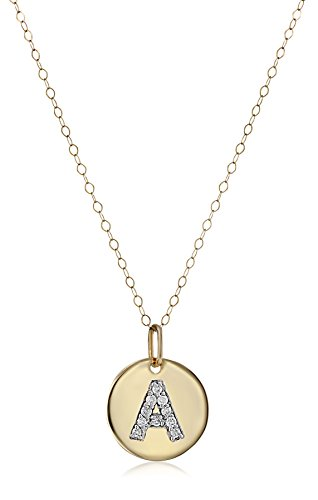 Diamond Initial Pendant Necklace (14k Yellow Gold Disc Diamond Initial