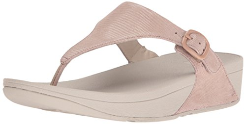 The Skinny Lizard Print Toe-Post Fitflop Femmes Sandals - Nude Rose