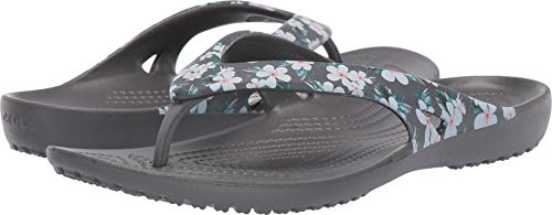 Crocs Women's Kadee II Flip Flop, Tropical Floral/Slate Grey 9 M US ()