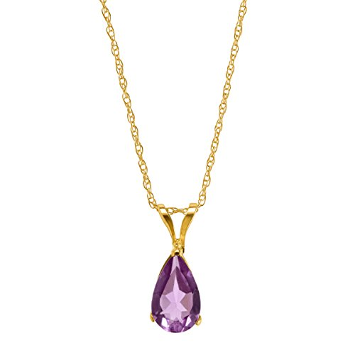Necklace Gold Amethyst - 1/2 ct Natural Amethyst Pear-Cut Solitaire Pendant Necklace in 10K Gold