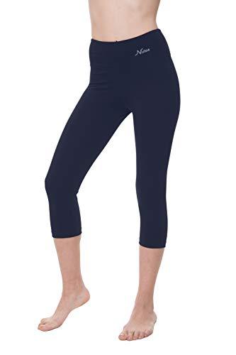 NIRLON Capri Yoga Pants High Waist Workout Capris Leggings for Women Plus Size (XL, Navy Blue 18