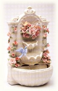 Cosmos SB49056 Fine Porcelain Floral Fountain Musical Figurine, 8-7/8-Inch