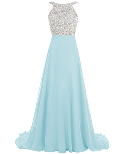 ALAGIRLS Beaded Neckline Prom Dress Long Chiffon Evening Gowns Backless BlueUS14