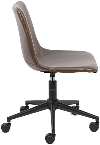 Btexpert Yafa Mid Back Fuax Leather Task Chair, Brown Office Chair