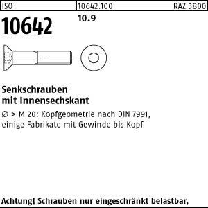 200 Inbus Senkkopfschrauben ISO 10642 10.9 schwarz M5x50