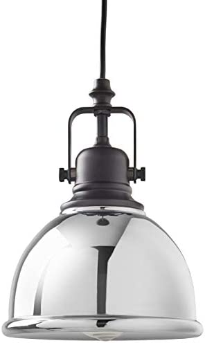 Amazon Brand Stone Beam Modern Industrial Round Ceiling Pendant Chandelier Fixture – 6.5 Inch Shade, 10 – 58 Inch Cord, Chrome and Black