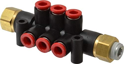 1/4'' Inlet, 1/4'' Outlet, Composite & PBT Manifold pack of 3 by SMC PNEUMATICS