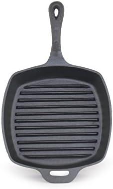 ForHauz Pre-Seasoned Cast-Iron Square Grill Pan, 10.5 , Black