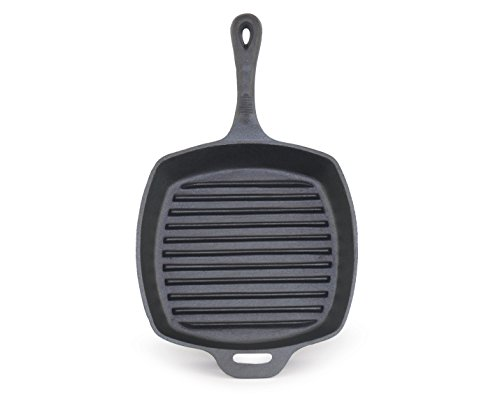 (ForHauz Pre-Seasoned Cast-Iron Square Grill Pan, 10.5