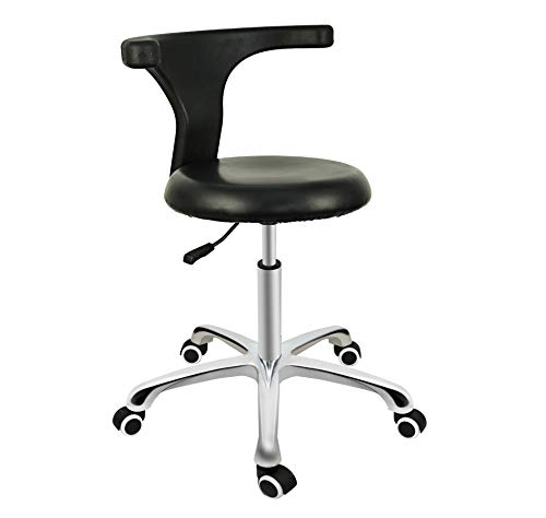 Grace & Grace Professional Task Stool Chair LUX Series Extra Large Seat Rolling Swivel Pneumatic Adjustable Heavy Duty for Dentist, Shop, Office and Home (with Backrest Steel Base, Black) ()