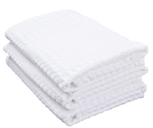 (SINLAND 400 GSM Microfiber Waffle Weave Kitchen Towels Drying Cloth 3 Pack 16inch X 26inch White)