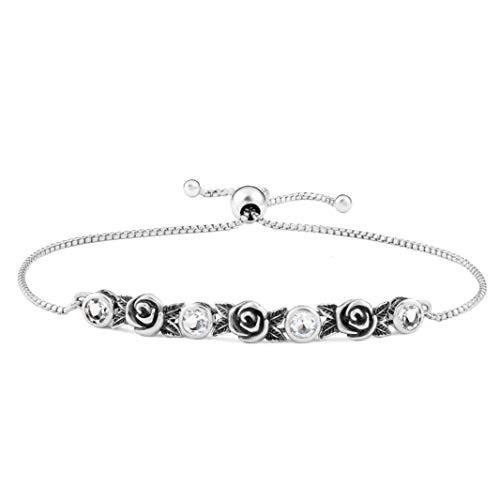 PZ Paz Creations 925 Sterling Silver Adjustable Gemstone Tennis Bracelet (Clear Quartz)