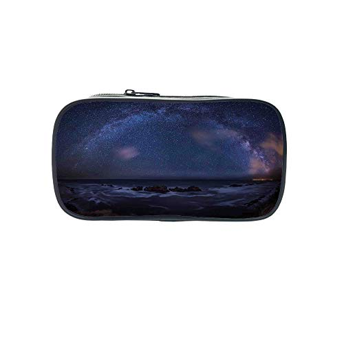 Customizable Pen Bag,Space,Massive Milky Way Over The Sea Appears to Be a Dark Matter Halo Spread Out in Solar Center,Blue,for Kids,3D Print Design by iPrint