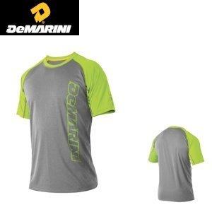 DeMarini Men's Yard-Work Vertical Wordmark Training T-Shirt, Grey/Green, X-Large