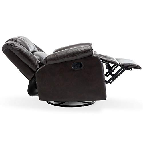 Heavens Tvcz Glider Recliner Chair Brown Cushions Faux Leather Rocker Premium Upholstered Bonded Swivel Recliner Relax Nursing Cushion Living Room for Ultimate Comfort