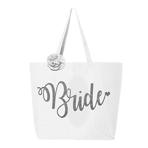 Classy Bride Glitter Bride Tote Bag - White and Silver