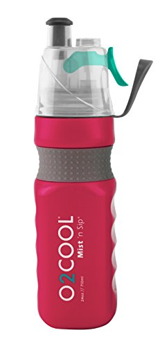 O2COOL Power Flow Grip Band Bottle with Classic Mist N Sip Top 24 oz., Raspberry