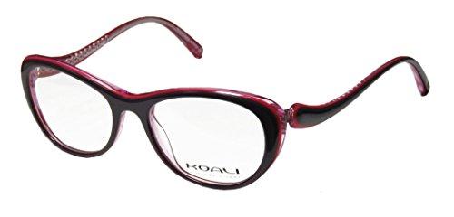 Eyeglasses Eyewear Rx Frames (Koali 7058k Womens/Ladies Rxable Durable Designer Full-rim Eyeglasses/Eyeglass Frame (49-16-135, Plum / Transparent Pink))