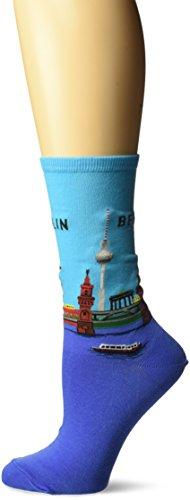 Hot Sox Women's Travel Series Novelty Fashion Crew, Berlin (Light Blue), Shoe Size: 4-10