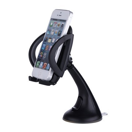 Car Mount,THZY Black 360 Degree Rotation Universal Windshield Dashboard Car Mount Cradle Holder for iPhone 6, 6 Plus, 5S, 5C, 5, 4S, 4; Samsung Galaxy Note 4, 3, 2, S5, S4,S3, Galaxy Mega, HTC One, 2 (M8), Google Nexus 5, 4 ; BlackBerry Z10, Z30, LG Optimus G, Motorola Moto X /Moto G / Droid Maxx / Droid Ultra, Sony Xperia Z1, GPS and more(1.9
