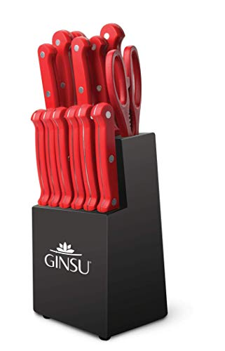 Ginsu KIS-RD-DS-014-4 Kiso Dishwasher Safe Red 14 Piece Set Black Block, 9″ W x 15″ H x 5″ D