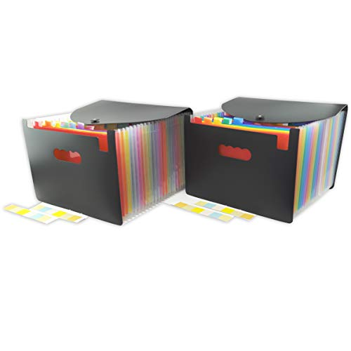 Fengtaiyuan B01, 24 Pockets Expanding File Folder with Cover, A4 Letter Size, 2 Pack