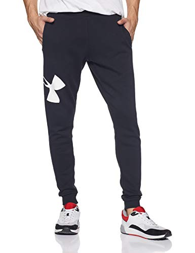Under Armour Men's Rival Fleece Logo Jogger, Black (001)/White, Medium